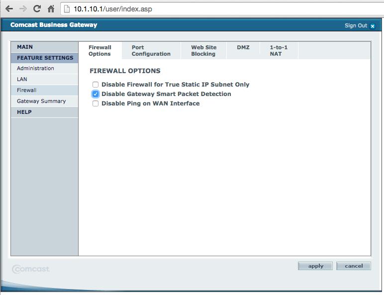 SMC Comcast Gateway Disable Smart Packet Inspection