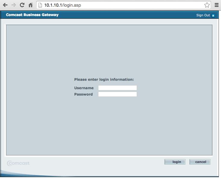 SMC Comcast Gateway Login Page